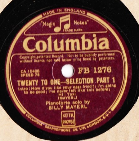 Billy Mayerl - Twenty to One - Columbia FB.1276